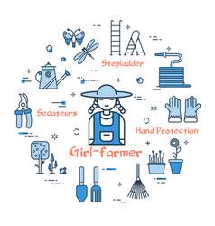 Blue gardening - girl-farmer vector