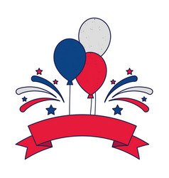 Blue white and red balloons with ribbon and vector