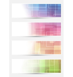 Bright cards collection - squares lines vector