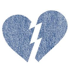 Broken heart fabric textured icon vector