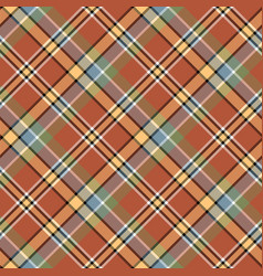 Brown orange color tartan seamless fabric texture vector