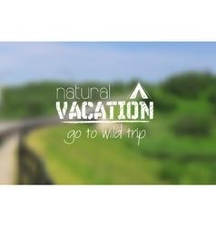 Camping logo emblem on summer blurred landscape vector