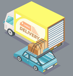 cargo delivery truck and car with boxes vector image