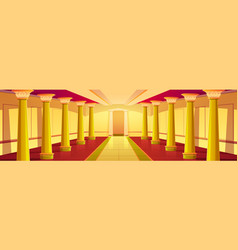 Castle corridor with gold columns palace colonnade vector