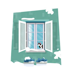 cat looking through window merry christmas vector image
