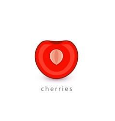 cherries simple icon vegan logo template vector image
