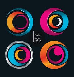 circle shape logo o set vector image