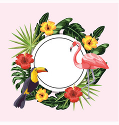 circle sticker with toucan and flamingo in the vector image