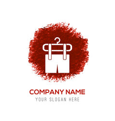 clothing item on hanger icon - red watercolor vector image