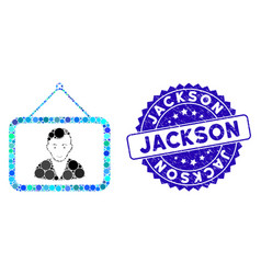 Collage man portrait icon with distress jackson vector