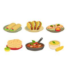 Collection delicious mexican cuisine food vector