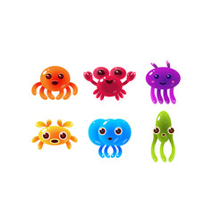 Collection of colorful glossy sea creatures cute vector