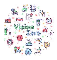 Color line icon round set vision zero vector