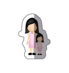 color woman with her daughter icon vector image