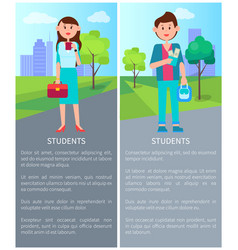 Colorful with two students vector