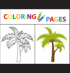 coloring book page palm sketch outline and color vector image
