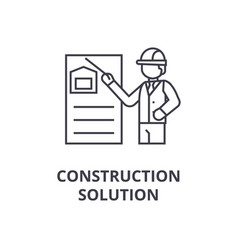 construction solution line icon sign vector image