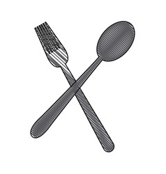 crossed spoon and fork tool cooking kitchen icon vector image