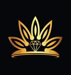 Crown modern gold diamond logo vector