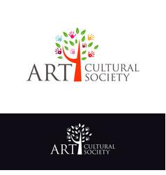 cultural art society logo symbol vector image