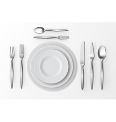 Cutlery Set of Silver Forks Spoons Knifes Plates vector image