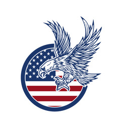 Eagle on american flag design element for logo vector