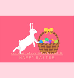 easter rabbit with easter eggs in basket vector image