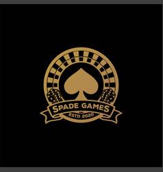 Elegant luxury gold spade roulette dice gaming vector