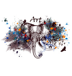 Elephant with ink spots vector