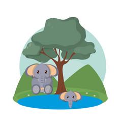 Elephants family cute animals cartoons vector