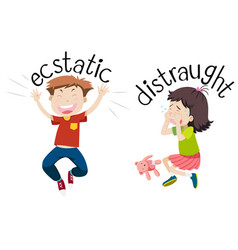 english opposite word of ecstatic and distraught vector image
