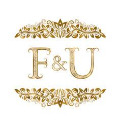 F and u vintage initials logo symbol vector