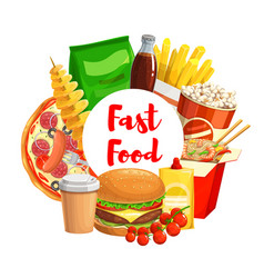 fastfood takeaway junk food and drinks vector image