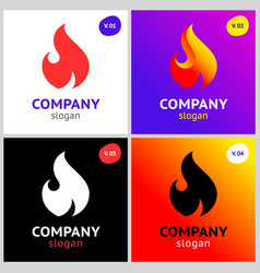 fire flames new colored set on gradient vector image