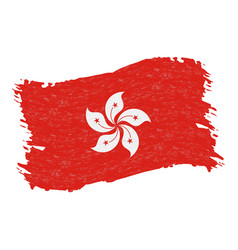 flag of hong kong grunge abstract brush stroke vector image