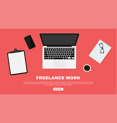 freelancer workspace workspace in top view vector image