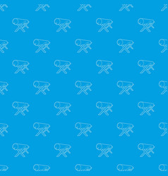 Goats for sawing logs pattern seamless blue vector