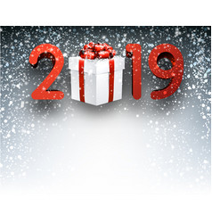 grey 2019 new year background with gift box vector image