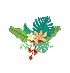 Hand drawn tropical flower foliage composite vector