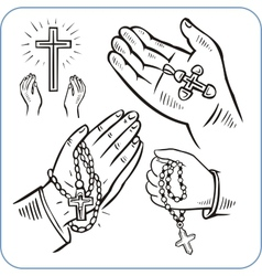 Hands and crosses vector image