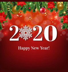 Happy new year card with christmas border vector