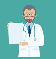 happy senior doctor shows blank paper on his hand vector image