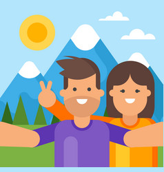Happy tourist couple taking selfie vector