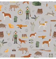 Hunting seamless pattern Dog hunting equipment vector