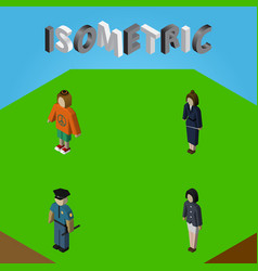 isometric human set of girl officer lady and vector image