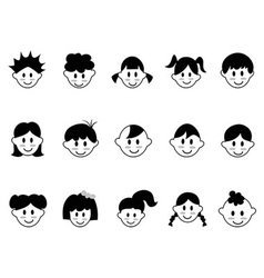 kids head icons vector image