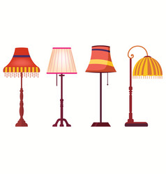 lampshades on long stands set of lamps table vector image