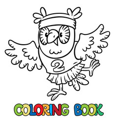 little funny owl doing exercises coloring book vector image