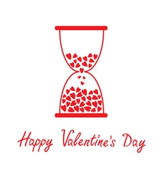 Love hourglass with hearts alentines Day card vector