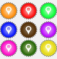 Map pointer gps location icon sign a set of nine vector